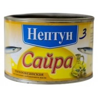 САЙРА НАТУРАЛЬНАЯ С МАСЛОМ Ж/Б 240Г /НЕПТУН/