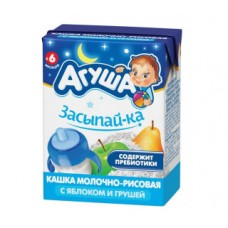 Каша детская агуша засыпай-ка молочно-рисовая с яблоком и грушей с 6 месяцев 2,7%, 200мл